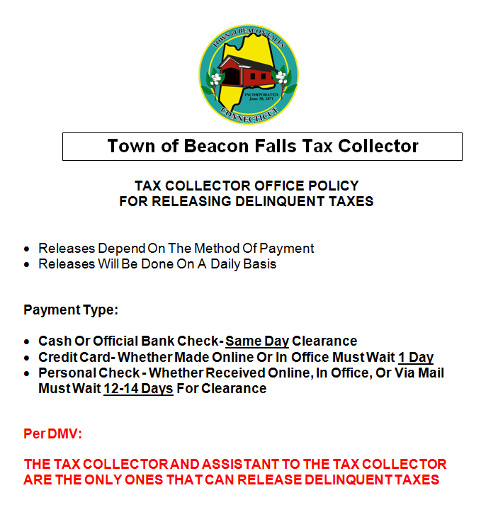 Tax Collector Office Policy for Releasing Delinquent Taxes