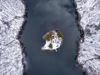 Aerial View of Matthies Park in Winter