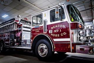 Fire Truck inside fire house