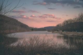Pond scene at dusk